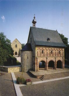 Lorsch Abbey, Germany.  The abbey, together with its monumental entrance, the famous 'Torhall', are rare architectural vestiges of the Carolingian era. The sculptures and paintings from this period are still in remarkably good condition.
