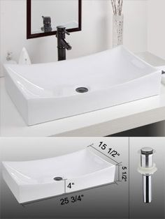 """Is this bigger than our current sink?    25 3/4"""" Rectangular Porcelain Bathroom Sink Vessel w/ Drain by MEGA, http://www.amazon.com/dp/B005FT2X2Y/ref=cm_sw_r_pi_dp_l6bJrb1P7JCXG"""
