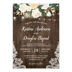 Shop Rustic Country Chic Floral String Lights Wedding Invitation created by CardHunter. Personalize it with photos & text or purchase as is! Rustic Bridal Shower Invitations, Holiday Party Invitations, Lace Wedding Invitations, 1st Birthday Invitations, Rehearsal Dinner Invitations, Engagement Party Invitations, Engagement Parties, Wedding Engagement, Invites