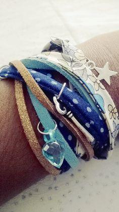 Plusieurs bracelets en un Liberty et en suédine dans les bleus et marrons : Bracelet par soo-happy