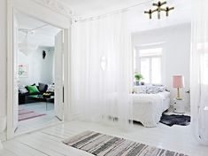 Gauzy White Curtains Don T Do Much To Keep Out Noise But Sometimes The Suggestion Of Division Is Enough Make A E More Comfortable