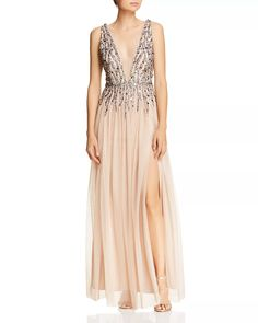 Aidan by Aidan Mattox Plunging Embellished Gown Women - Dresses - Evening & Formal Gowns - Bloomingdale's