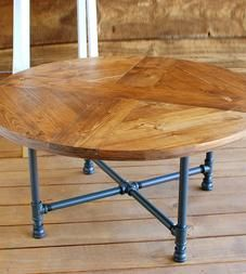 Reclaimed Wood Round Pattern Coffee Table with Pipe Legs by Southern Sunshine on Scoutmob Round Industrial Coffee Table, Reclaimed Wood Coffee Table, Reclaimed Wood Furniture, Pipe Furniture, Round Coffee Table, Furniture Sale, Industrial Furniture, Industrial Pipe, Salvaged Wood