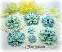MME Now & Then Light Blue and Ivory Handmade Paper Embellishments, Paper Flowers for Scrapbooking Cards Tags Mini Albums and Paper Crafts by mydivineinspiration on Etsy