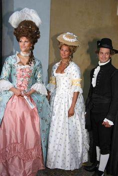 Crown Princess Victoria, Princess Madeleine, Prince Carl Philip of Sweden in costumes
