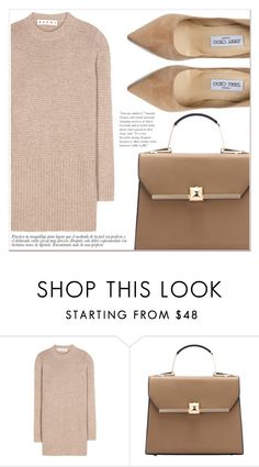 """""""Beige  style"""" by lucky-1990 ❤ liked on Polyvore featuring Marni and Jimmy Choo"""