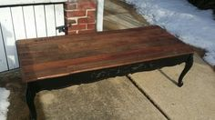 Repurposed pallet wood coffee table.  Check out Knot your usual furniture on Facebook at https:// m.facebook.com / profile.php