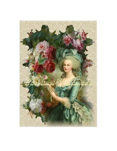 """Victorian Lady 19 Collage Cotton Fabric Quilt Block (1) @ 5X7"""" on 8.5X11"""" Sheet #YOURSTRULY"""