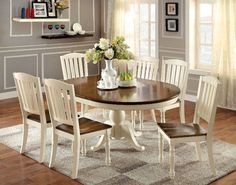 7 Pc Black Dining Room Set Wood Kitchen Furniture Table 6 Chairs Dinette Sets