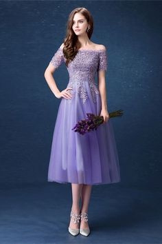 Affordable Lavender Bridesmaid Dresses 2018 A-Line / Princess Off-The-Shoulder Short Sleeve Sequins Beading Tea-length Ruffle Backless Wedding Party Dresses Tea Length Formal Dresses, Tea Length Cocktail Dresses, Short Sleeve Prom Dresses, Modest Homecoming Dresses, Strapless Cocktail Dresses, Short Sleeves, Lavender Cocktail Dress, Half Sleeves, Purple Evening Dress