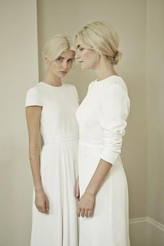 Bridal – Charlotte Simpson Idea: two piece dress top tule layer skirt. One top long sleeve one short with lace or beading