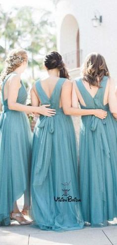 dba54bc6c9 Charming V-Neck Long A-Line Tulle Bridesmaid Dresses With Bow-Not