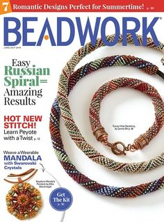 The June/July issue of Beadwork magazine includes 19 projects, new beads and collections, and instructions for the new technique Peyote with a Twist.