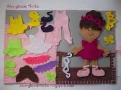 Storybook Felts Felt My Little Ballerina Doll Dress Up Set With Book 24 PCS Paper Doll