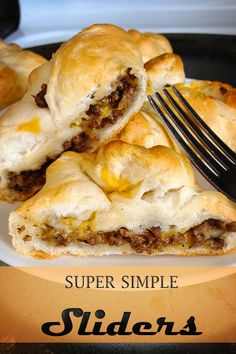 Super Simple Sliders!!! YOU GOTTA TRY THESE! Yield: 8 sliders Ingredients •1 can Pillsbury Grands refrigerated biscuits •1lb of cooked ground beef •8oz of shredded cheese (any kind works!)
