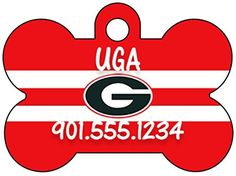 Georgia Bulldogs Pet Id Tag for Dogs  Cats Personalized w Name  Number -- Click on the image for additional details.