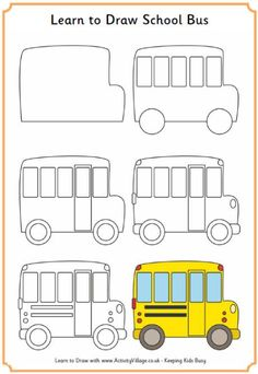 Learn to Draw a School bus Bus safety week October 2014 Drawing Lessons For Kids, Easy Drawings For Kids, Art Lessons, Art For Kids, Doodle Drawings, Doodle Art, Directed Drawing, Doodles, Step By Step Drawing