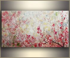 Cherry Blossom 24x48 ORIGINAL art Abstract by studiomosaic on Etsy
