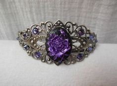 Antique Silver Filigree Bracelet. Hand Painted Purple Rose Cameo. Amythest Swarovski Crystal accents' on Wish, check it out! For sale on etsy