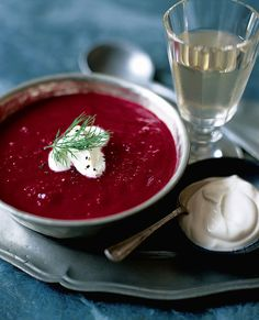 This classic beetroot soup recipe, made with bramley apples, is a light and wintry starter recipe that won't fail to impress your guests. Beetroot Soup, Beetroot Recipes, Curry Recipes, Soup Recipes, Recipies, Vegetarian Starters, Vegetarian Food