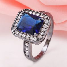 10kt-Black-Gold-Filled-3-76ct-Sapphire-Ring-Wedding-Engagement-Bridal-Women-NEW