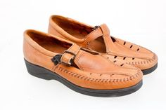 Dexter T-Strap Moccasins Mary Janes Shoes Natural Tan Leather 10 M T474-5…