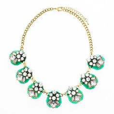 Shop: www.vivalajewels.com and use code: Danielle for 20% off your order now through Sept 2!  Sparkling crystals are encrusted in emerald green gloss tiles making it the perfect piece of jewelry for adding a touch of sparkle and color to your ensemble. These statement necklace is also available in emerald green, gray, blue and purple.