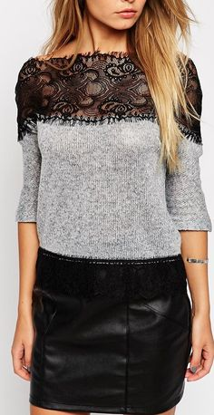 lace pannel sweater