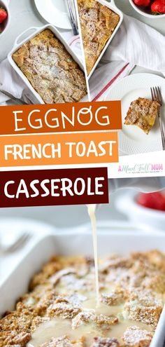 The perfect American Breakfast! Looking for recipes for eggnog leftovers? Try this easy to make Eggnog French Toast Casserole. This delish eggnog French toast is made with a simple nutmeg custard and Eggnog French Toast, French Toast Bake, Easy Baked French Toast, Baked French Toast Casserole, Brunch Recipes, Gourmet Recipes, Breakfast Recipes, Breakfast Ideas, Delicious Recipes