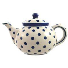 Polie Potterie Polnische Keramik Teekanne Handarbeit für 6 Tassen kobaltblaues Punktmuster: Amazon.de: Küche & Haushalt
