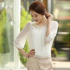 Buy 'Styleonme – Puff-Sleeve Appliqué Chiffon Top' with Free International Shipping at YesStyle.com. Browse and shop for thousands of Asian fashion items from South Korea and more!