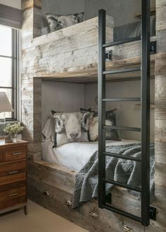 Barn Board Bunk Beds - Design photos, ideas and inspiration. Amazing gallery of interior design and decorating ideas of Barn Board Bunk Beds in bedrooms, girl's rooms, boy's rooms by elite interior designers. Modern Bunk Beds, Rustic Bunk Beds, Modern Bedroom, Rustic Bedrooms, Bedroom Vintage, Rustic Kids Rooms, Metal Bunk Beds, Rustic Nursery, Minimalist Bedroom