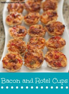 Bacon and Rotel Cups Recipe ~ combine awesome ingredients for a delicious and addictive appetizer. They are easy to make and are a crowd pleaser! They are perfect for barbeques or any party!