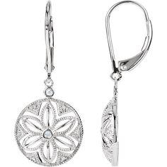Sterling Silver .08 CTW Diamond Lever Back Earrings