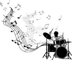 Vecteur : BATTERIE EN MUSIQUE Music Drawings, Music Artwork, Funny Illustration, Illustrations, Rock And Rool, Drum Tattoo, Chicano Art, Music Tattoos, Preschool Art