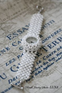 Swarovski Crystal Beaded Watch White by BeadsStudioLuna on Etsy Swarovski Watches, Beaded Watches, Seed Bead Art, Watch Diy, Beaded Crafts, Swarovski Crystal Beads, Bracelet Crafts, Beaded Jewelry Patterns, Jewelry Making Beads