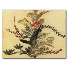 Vintage Japanese Parchment Save the Date Postcard