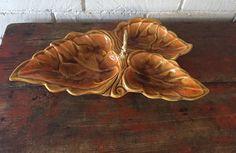 Santa Anita Ware California Pottery Leaf Shape Handled Divided Dish Drip Glaze #SantaAnitaWare