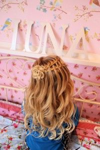 Little girls hairstyle. Rose waterfall braid + no heat curls from Savvy Curls.