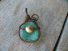 Sea glass pendant Jasper jewelry genuine sea glass aqua by Spti