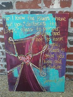 Cross painting with scripture by AshleeBrookeBell on Etsy, $65.00