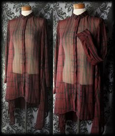Gothic Dark Red Black Sheer ABOMINABLE Asymmetric Long Tunic Shirt 10 12 Retro 90's