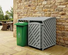 Details about Double Wheelie Bin Store Outdoor Cover Recycling Storage Hinged Lid Wooden - All For Remodeling İdeas Garbage Can Storage, Garbage Shed, Bin Storage Ideas Wheelie, Storage Bins, Storage Cabinets, Bin Store Garden, Woodworking Ideas Pallets, Diy Furniture Chair, Pallet Furniture