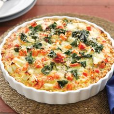 Pumpkin, spinach and feta tart with brown rice crust | Healthy Food Guide
