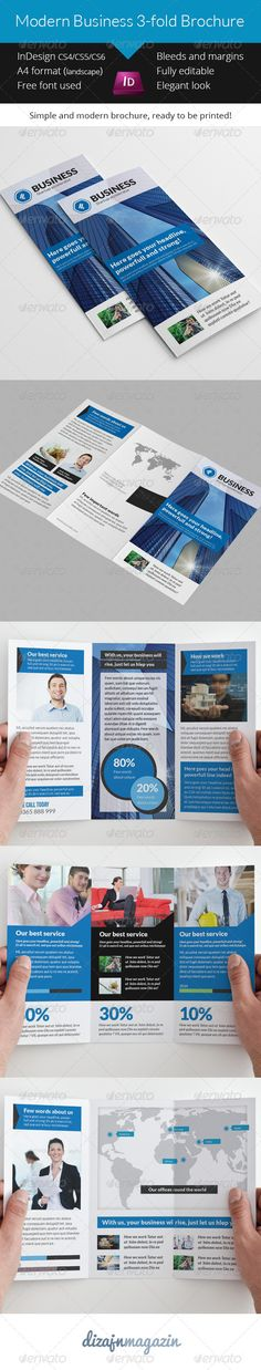 Print Templates - Modern Business 3-fold Brochure Indesign Template | GraphicRiver