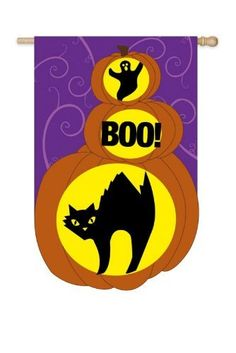 """44"""" Fiber Optic LED Lit Outdoor Halloween """"Boo!"""" Flag by Evergreen. $64.99. Outdoor Fiber Optic Halloween FlagItem #15SL7831Thrilling fiber optic LED lit Halloween flag features a cat, a ghost, and the phrase """"Boo!""""Will stay lit in approximately 60 second intervalsFlag uses batteries - not includedDimensions: 44""""H x 28""""W x 1.5""""DMaterial(s): man-made. Save 19% Off!"""