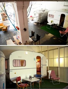The Hüttenpalast - Berlin's cool & unusual hotel where guests stay in camping trailers that are inside an old vacuum cleaner factory.