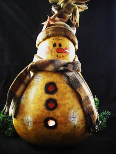 Winter Holiday Handpainted Snowman Snowflakes Gourd Decoration