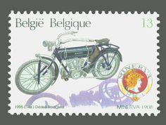 1908, Minerva motorfiets, 10 jaar Autoworld Brussels, postzegel 1995