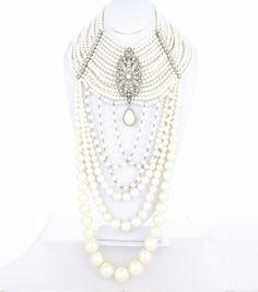 Statement Gatsby Signature Line Multi-Strand Pearl Extravaganza Choker Necklace Set